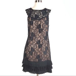 KENSIE lace dress 8 black ruffle tiered pleat d606